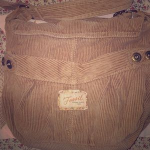 vintage fossil corduroy crossbody bag